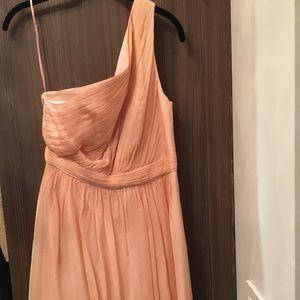 Silk chiffon one shoulder dress